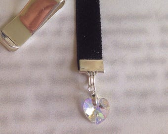 Aurora Borealis Crystal Heart  bookmark *FREE SHIPPING* Attach clip to book cover then mark page with the ribbon. Never lose your bookmark