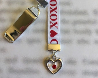 Red Crystal Heart bookmark / Love Bookmark  Attach clip to book cover then mark page with ribbon. Never lose your bookmark!