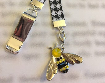 Bee Bookmark / Exclusive Swarovski Bookmark ONE OF A KIND Gift - Attach clip to book cover then mark page with ribbon & charm