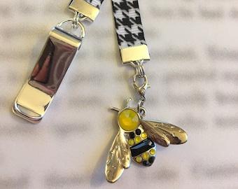 Bee Bookmark / Swarovski Bookmark / Cute Bookmark / Unique Gift - Attach clip to book cover then mark page with ribbon & charm