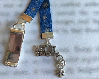Snowflake bookmark / Let it Snow Bookmark / Attach clip to book cover then mark the page with the ribbon. Never lose your bookmark!