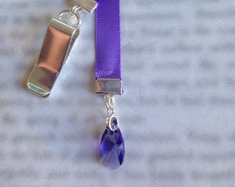 Tanzanite Crystal Bookmark / Beautiful Bookmark - *FREE SHIPPING* - Clip to cover then mark page with ribbon. Never lose your bookmark!