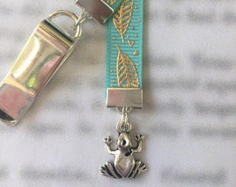 Cute Frog Bookmark - Attach to book cover then mark the page with the ribbon. Never lose your bookmark!