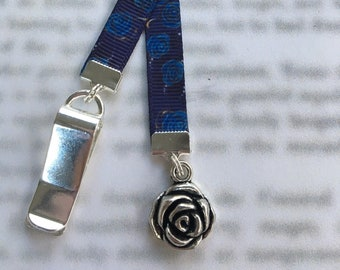 Rose bookmark / Cute Bookmark / Gardener Gift / Book Lover gift - Clips to book cover then mark page with ribbon. Never lose your bookmark