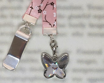 Butterfly Bookmark / Exquisite Swarovski Crystal Bookmark / Unique Gift - Attach clip to book cover then mark page with ribbon & charm
