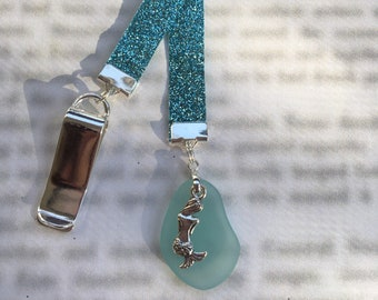 Mermaid bookmark, Sea Glass bookmark, Little Mermaid, Beach Bookmark - Special Clip attaches to book cover, then mark page with ribbon