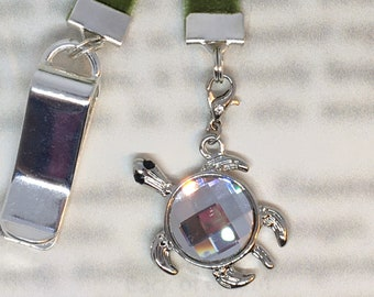 Turtle Bookmark / Exquisite Swarovski Crystal Unique Gift /Tortoise Bookmark- Attach clip to book cover then mark page with ribbon & charm