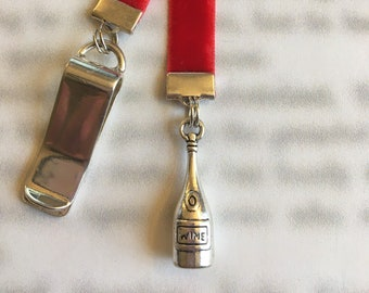 Wine Lovers Bookmark / Wine Bottle Bookmark / I Love Wine Bookmark  - Attach to book cover, mark page with ribbon. Never lose your bookmark!