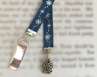 Cute Winter Owl Bookmark with Snowflake ribbon, Hedwig Bookmark - Clip to book cover then mark page with ribbon. Never lose your bookmark!
