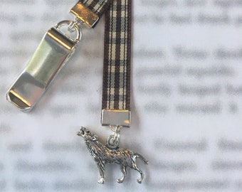 Wolf bookmark / Stark Bookmark / GOT Bookmark / Dire Wolf  - Clip to book cover then mark page with ribbon.