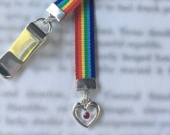 Love is Love Swarovski Heart bookmark LGBTQ Rainbow Ribbon -  Attach clip to book cover then mark page with ribbon. Never lose your bookmark