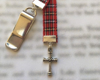 Cross Bookmark, Christmas Cross,  Christian Bookmark, Faith bookmark, Religious bookmark - Clip to book cover then mark page with ribbon