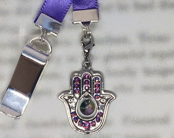 Hamsa Hand Bookmark / Exquisite Swarovski Crystal Unique Gift Mothers Day - Attach clip to book cover then mark page with ribbon & charm