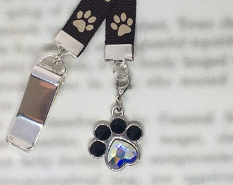 Dog Bookmark / Dog Lover Bookmark / Exquisite Swarovski Crystal Unique Gift -Attach clip to book cover then mark page with ribbon & charm