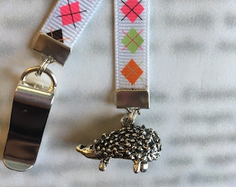 Hedgehog bookmark Cute bookmark  Attach clip to book cover then mark page with ribbon. Never lose your bookmark!