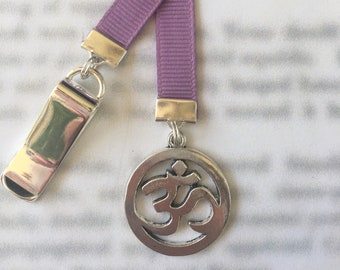 Yoga Om Aum Meditation Bookmark, Buddhism Hinduism - Attach special Clip to book cover then mark page with ribbon. Never lose your bookmark!