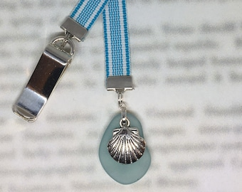 Seashell bookmark,  Sea Glass bookmark, Clam Shell, Beach Bookmark -Clips to book cover then mark page with ribbon. Never lose your bookmark