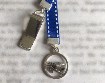 Bird bookmark / Bird on Branch / Dove Bookmark  - Clip to book cover then mark page with ribbon. Never lose your bookmark!