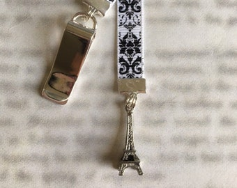 Eiffel Tower Bookmark / Paris / French Bookmark  Attach to book cover then mark page with ribbon. Never lose your bookmark!