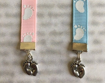 Baby Feet  / Baby Girl Bookmark / Baby Boy Bookmark / Gender Reveal  - Clip to book cover then mark page with ribbon