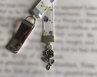 Rose bookmark / Tea Rose bookmark - Attach clip to book cover then mark page with the ribbon.