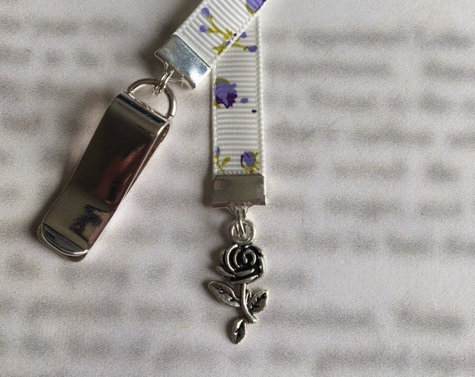 Rose bookmark / Tea Rose bookmark *FREE SHIPPING* Attach clip to book cover then mark page with the ribbon.