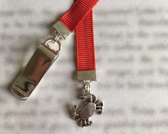 Crab bookmark / Crabbing Bookmark / Cute Bookmark - Attach clip to book cover then mark the page with the ribbon. Never lose your bookmark!