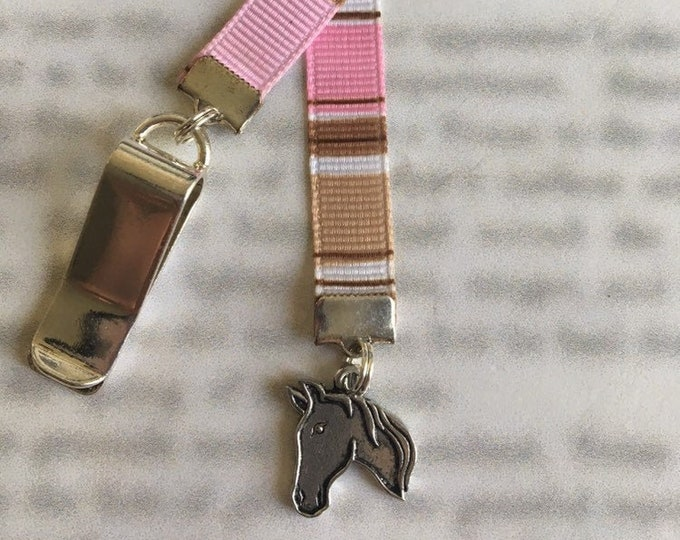 Horse Bookmark / Equestrian Bookmark *FREE SHIPPING* - Attach to book cover then mark page with ribbon. Never lose your bookmark!
