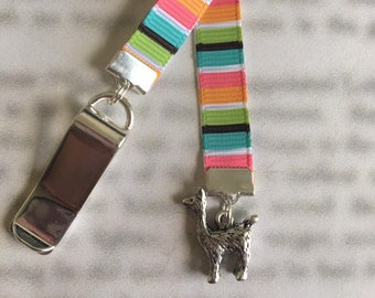 Llama bookmark Cute bookmark Alpaca bookmark  Attach clip to book cover then mark page with ribbon. Never lose your bookmark!