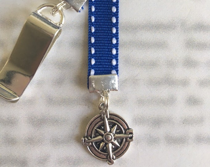Nautical bookmark / Anchor Bookmark / Boating Compass Rose *FREE SHIPPING* - Clips to cover, mark page with ribbon. Never lose the bookmark