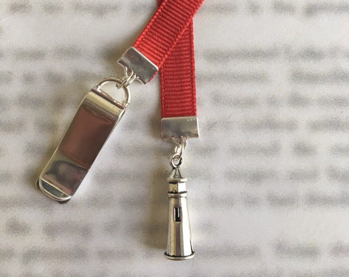 Lighthouse bookmark / Boating Bookmark *FREE SHIPPING* - Clips to cover, mark page with ribbon. Never lose the bookmark