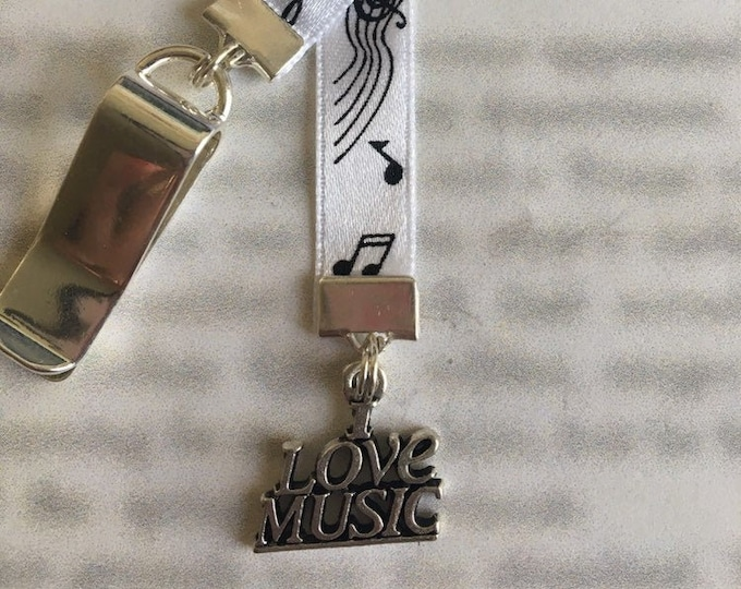 Music bookmark / I Love Music Bookmark / Musician *FREE SHIPPING* - Clip to book cover then mark page with ribbon. Never lose your bookmark!