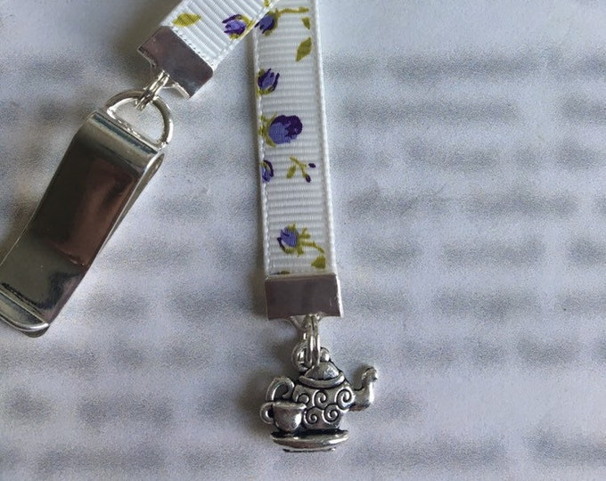 Teapot bookmark / Teacup bookmark *FREE SHIPPING* - Attach clip to book cover then mark the page with the ribbon. Never lose your bookmark!