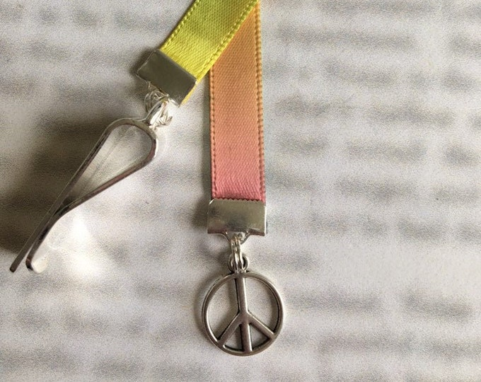 Peace Sign bookmark *FREE SHIPPING* - Attach clip to book cover then mark the page with the ribbon. Never lose your bookmark!