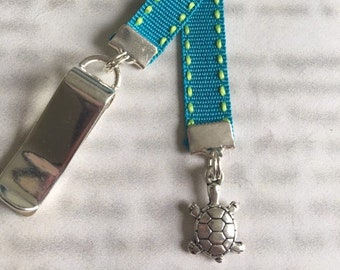 Turtle bookmark / Tortoise / Cute Bookmark  - Attach clip to cover then mark page with ribbon. Never lose your bookmark!