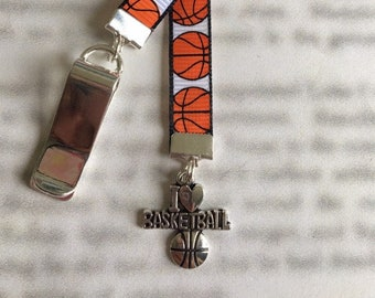 Basketball bookmark with clip - Attach clip to book cover then mark the page with the ribbon. Never lose your bookmark!