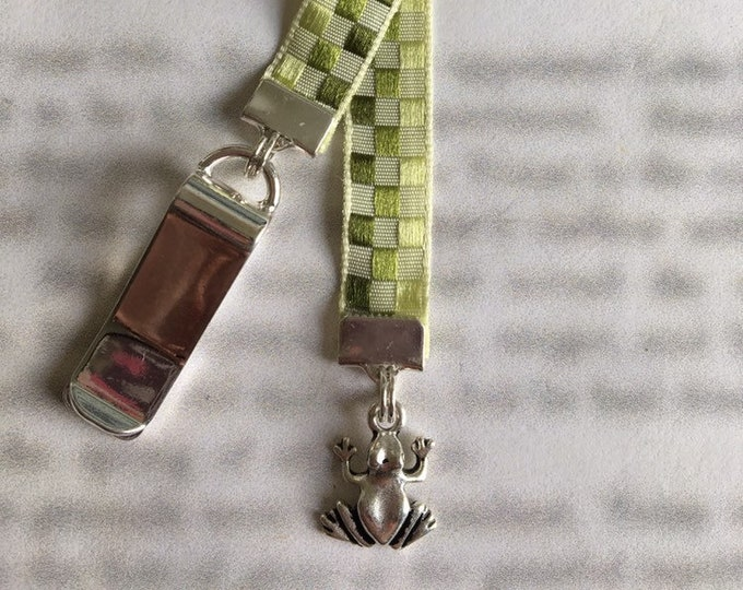 Frog bookmark / Cute Frog Bookmark - Attach to book cover then mark the page with the ribbon. Never lose your bookmark!