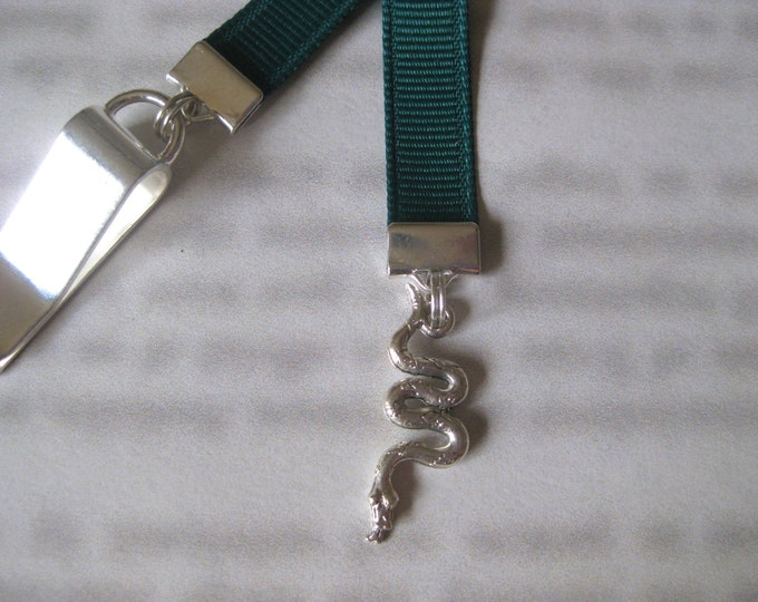 Snake Bookmark / Serpent Bookmark *FREE SHIPPING* - Attach to cover then mark page with the ribbon. Never lose your bookmark!