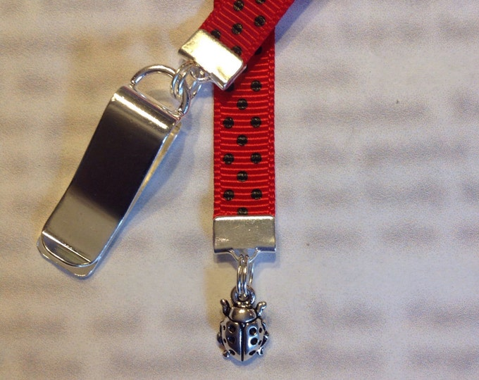 Ladybug Bookmark / Cute bookmark *FREE SHIPPING* - Attach to book cover then mark page with ribbon. Never lose your bookmark!