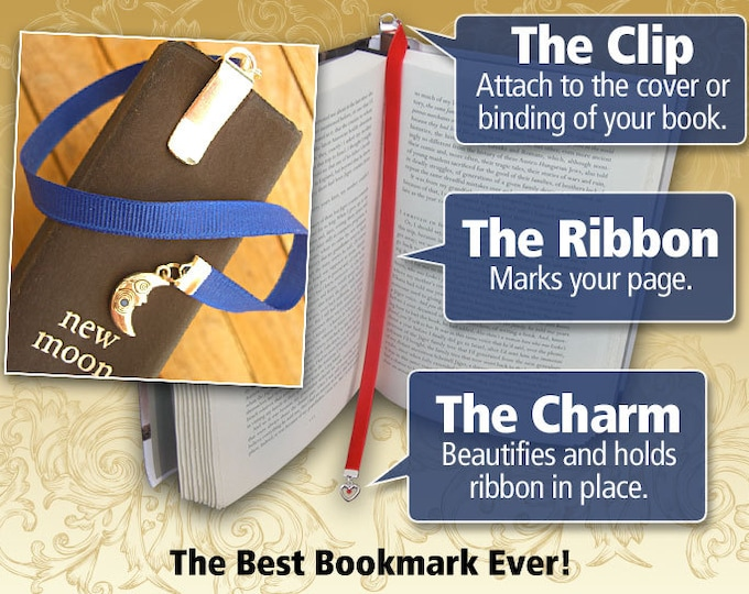 Featured listing image: Custom silverplate or pewter charm bookmark with clip  - Attach clip to book cover then mark the page with the ribbon.