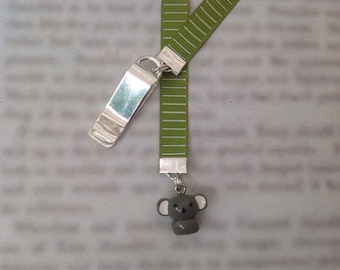 Koala bookmark, cute bookmark with clip *FREE SHIPPING* - Attach to book cover then mark page with ribbon. Never lose your cute bookmark!