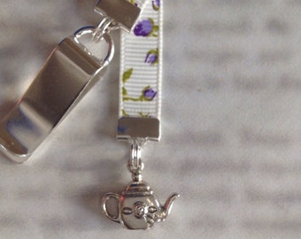Teapot bookmark with clip - Attach clip to book cover then mark the page with the ribbon. Never lose your bookmark!