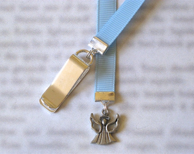 Angel bookmark / Heaven *FREE SHIPPING* - Attach clip to book cover then mark the page with the ribbon. Never lose your bookmark!