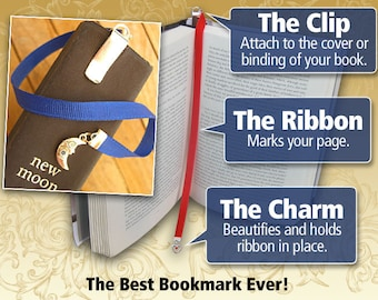 Custom silverplate or pewter charm bookmark with clip  - Attach clip to book cover then mark the page with the ribbon.