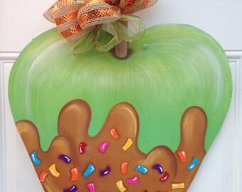 Wooden Caramel Apple with Sprinkles Door Hanger