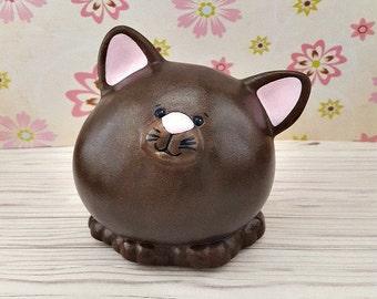 Wood piggy bank CAT dad kitten figurine Montessori wooden toy Adult boy girl kid large coin bank Tip jar Money box Unique baby shower gift