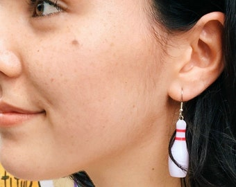 Handcrafted Bowling Pin Fish Hook  style Earrings