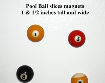 Pool Ball slices refrigerator magnets