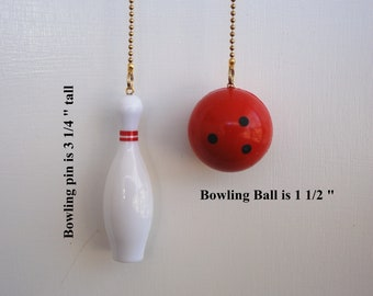 Handcrafted Bowling Pin and/ or Bowling ball ceiling fan chain pulls