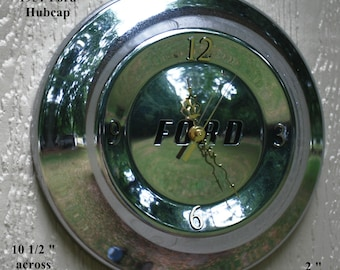 Vintage FORD Hubcap up-cycled to Unique  Wall Clock